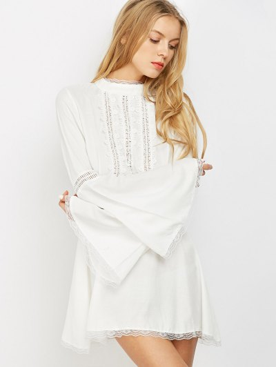 Lace Trim Flare Sleeve Dress - WHITE XL Mobile