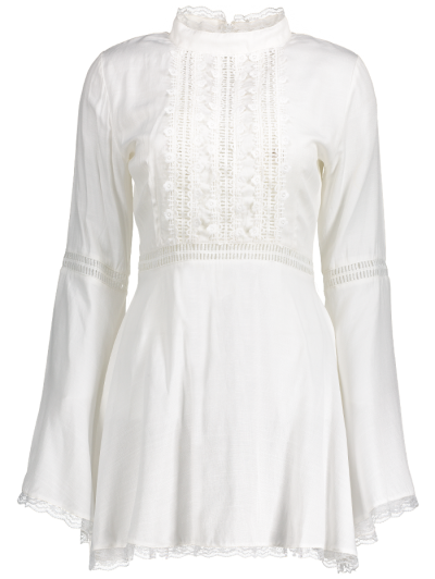 Lace Trim Flare Sleeve Dress - WHITE M Mobile