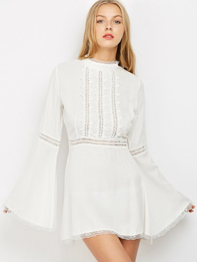 Lace Trim Flare Sleeve Dress - WHITE S Mobile