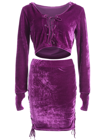 Lace Up Velvet Crop Top with Skirt - PURPLE L Mobile