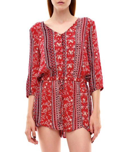 Button Up Printed Drawstring Romper - RED L Mobile
