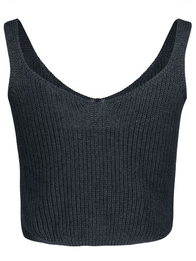 Ribbed Sleeveless Knitted Tank Top - GRAY ONE SIZE(FIT SIZE XS TO M) Mobile