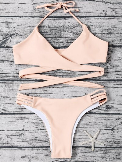 Strappy Halter Wrap Bikini Set - LIGHT APRICOT PINK M Mobile