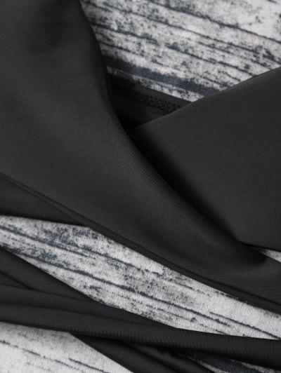 Strappy Halter Wrap Bikini Set - BLACK L Mobile