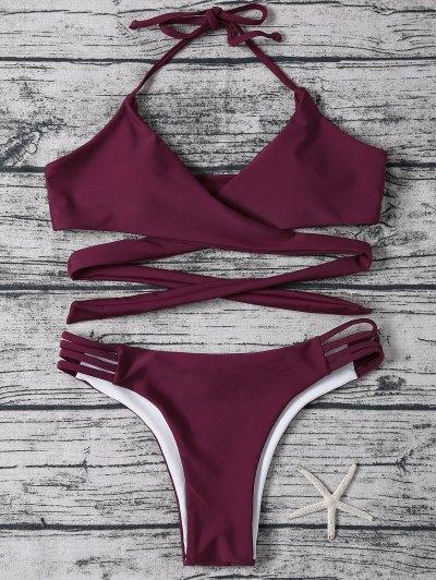 Strappy Halter Wrap Bikini Set - PURPLISH RED XL Mobile