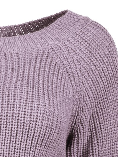 Boat Neck Loose Sweater - PURPLE ONE SIZE Mobile