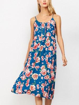 Sleeveless Spaghetti Strap Floral Print Dress - Blue