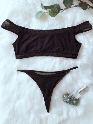 V De Cadena Del Hombro Del Bikini - Negro