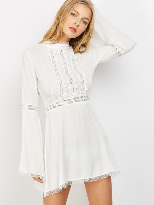 Lace Trim Flare Sleeve Dress - White