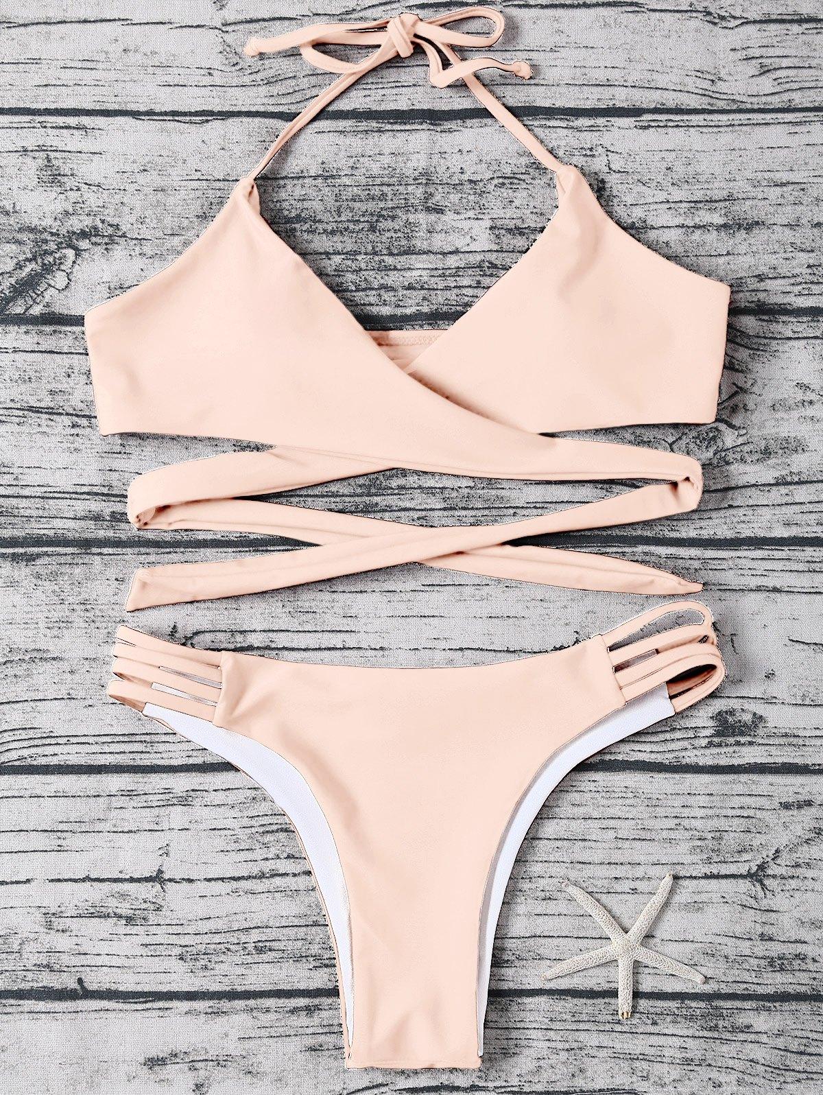 Wrap Strappy Halter Bikini Set