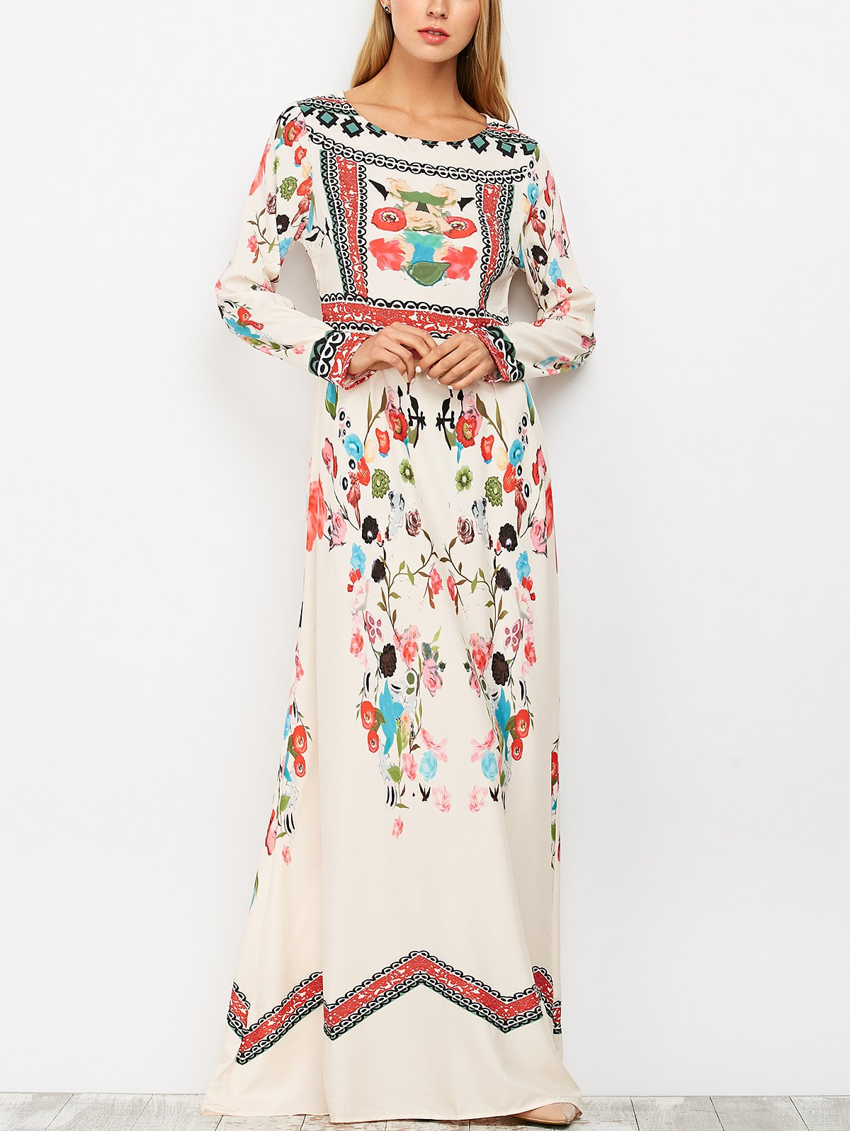 Ethnic Floral Long Sleeve Maxi Dress