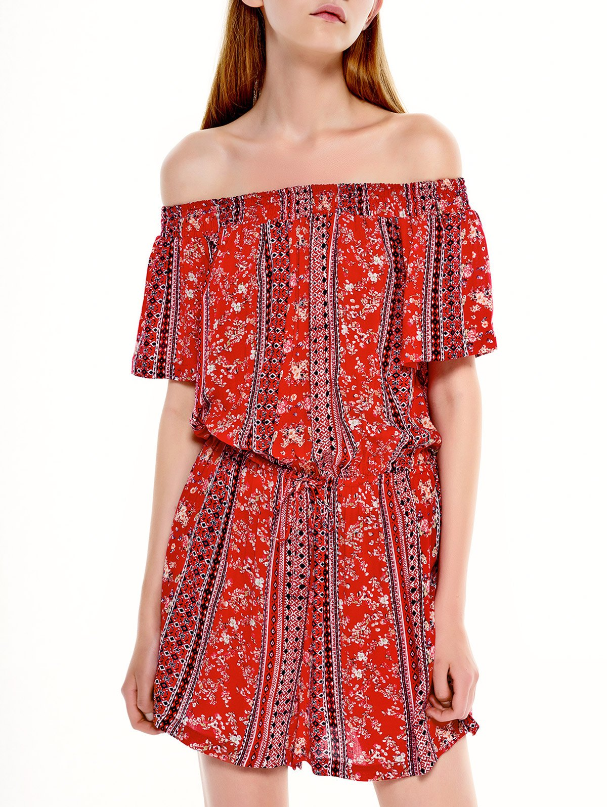 Printed Drawstring Off Shoulder Romper