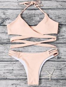 Strappy Halter Wrap Bikini Set - Light Apricot Pink