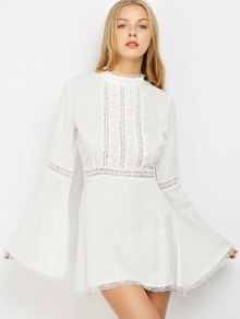 Lace Trim Flare Sleeve Dress - WHITE XL