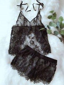 See-Through Cami Tank Top And Scalloped Shorts - Black