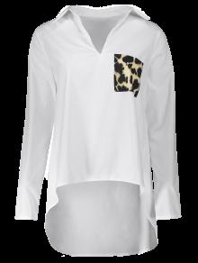 Leopard Pocket High Low Blouse - WHITE L