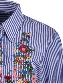 Striped Floral Embroidered Shirt - STRIPE L