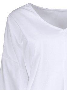 Loose Long V Neck Sweater - WHITE S