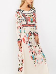 Long Sleeve Ethnic Floral Maxi Dress COLORMIX: Maxi Dresses S   ZAFUL