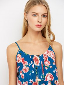 Sleeveless Spaghetti Strap Floral Print Dress - BLUE ONE SIZE