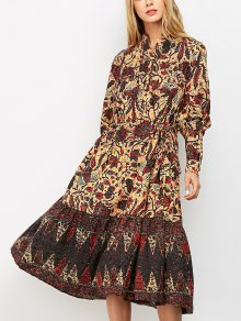 Lanterne Sleeve Floral Print Midi Dress