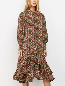 Vintage Printed Boho Chiffon Dress - L