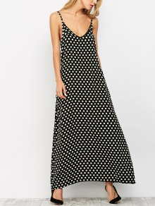 Polka Dot Maxi Slip Dress - Black M