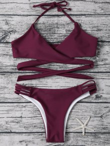 Strappy Halter Wrap Bikini Set - Purplish Red S