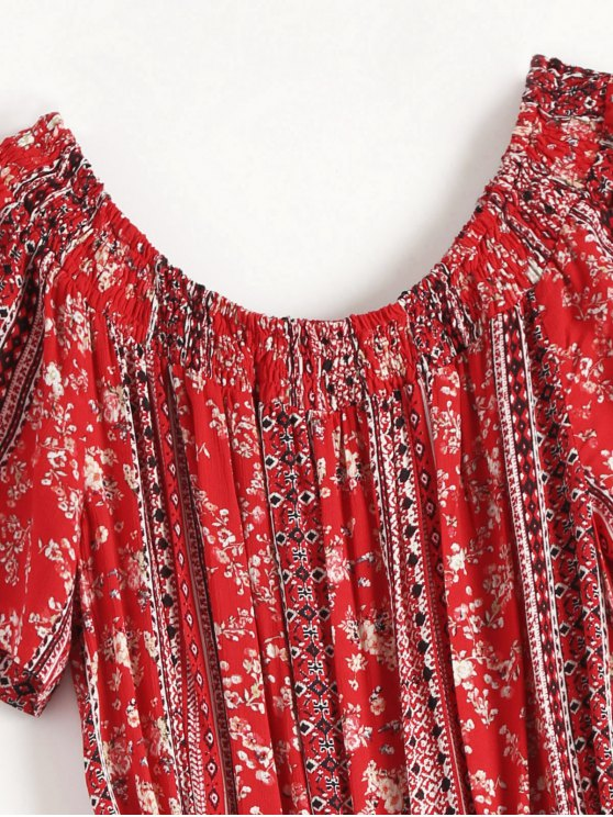 Drawstring Off Shoulder Printed Romper - RED M Mobile