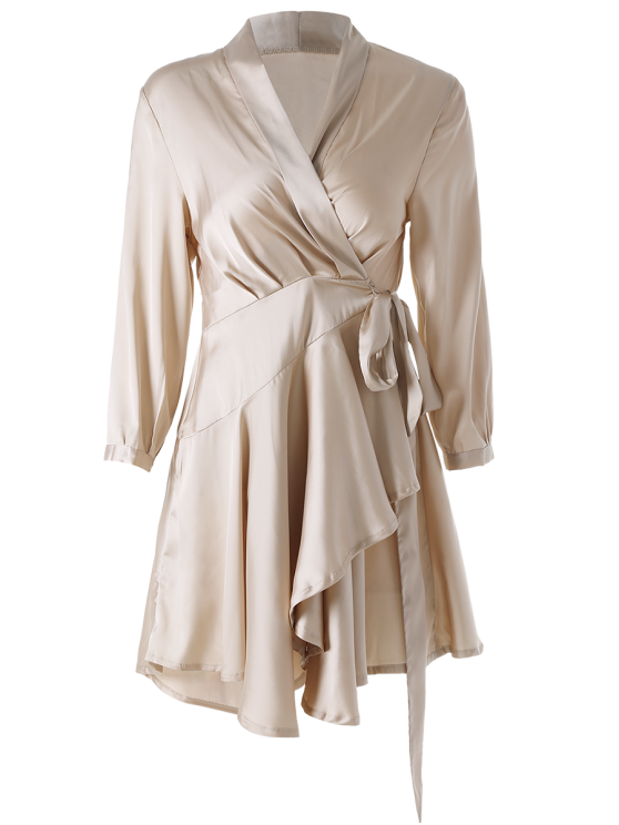 Satin Wrap Robe Tea Dress - YELLOWISH PINK L Mobile