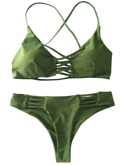 womens Lace-Up Cutout Strappy Bikini Set - GREEN M Mobile