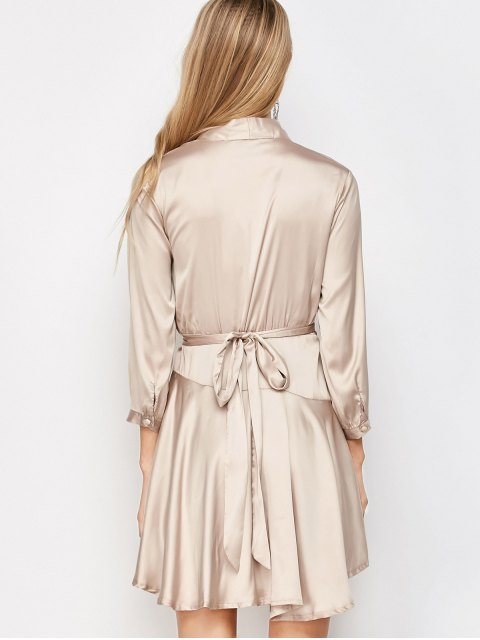 online Satin Wrap Robe Tea Dress - YELLOWISH PINK S Mobile