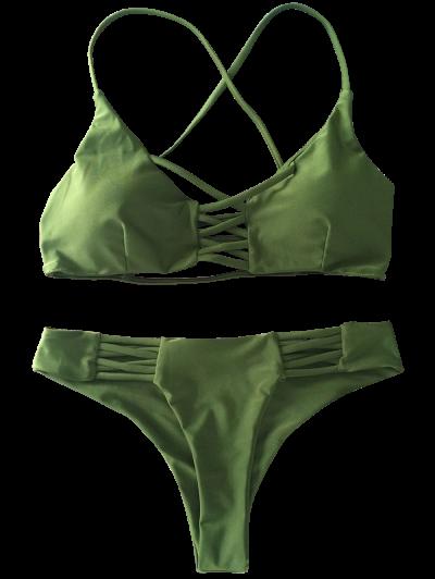 Lace-Up Cutout Strappy Bikini Set - GREEN L Mobile