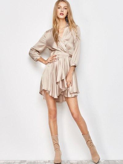 Satin Wrap Robe Dress - YELLOWISH PINK L Mobile
