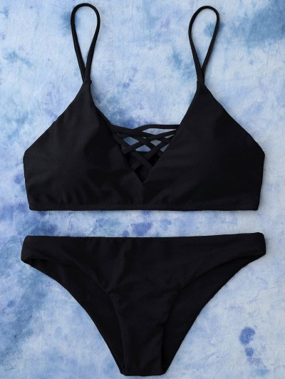 Lace Up Bikini Top and Bottoms - BLACK L Mobile