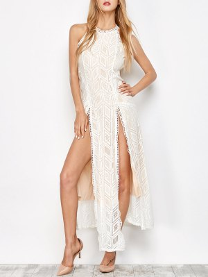 Geo Lace Maxi Thigh Split Dress - Apricot