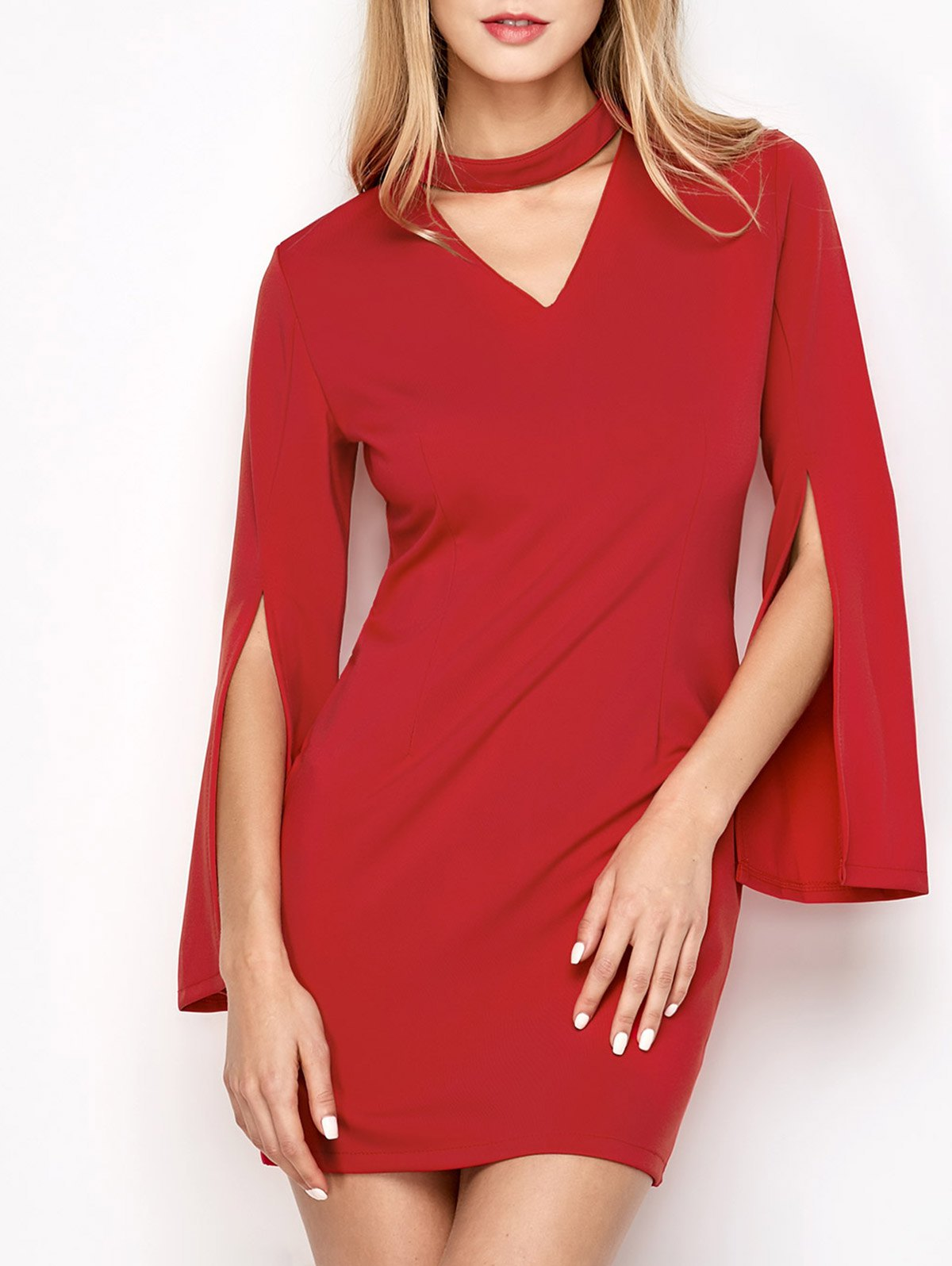 Bell Sleeve Choker Bodycon Dress - Red