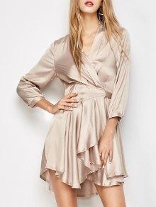 Satin Wrap Robe Tea Dress - Yellowish Pink