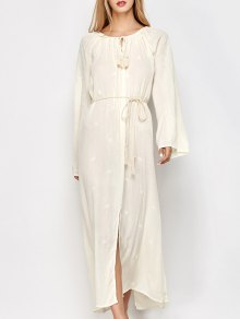 Raglan Sleeve Embroidered Maxi Dress