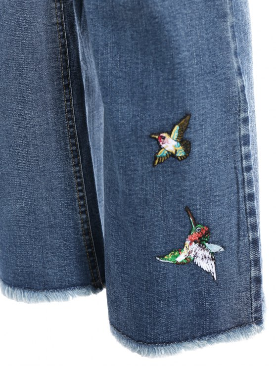 Rose Embroidered Frayed Boot Cut Jean - LIGHT BLUE S Mobile