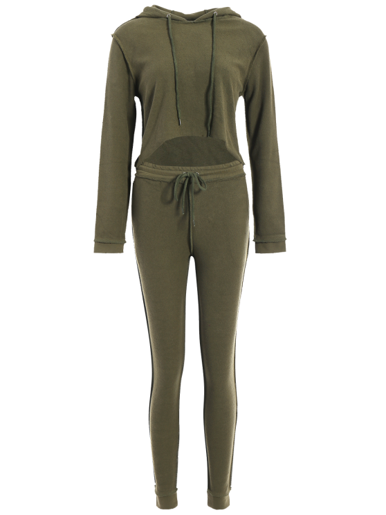 Cropped Hoodie and Drawstring Sports Pants - ARMY GREEN S Mobile