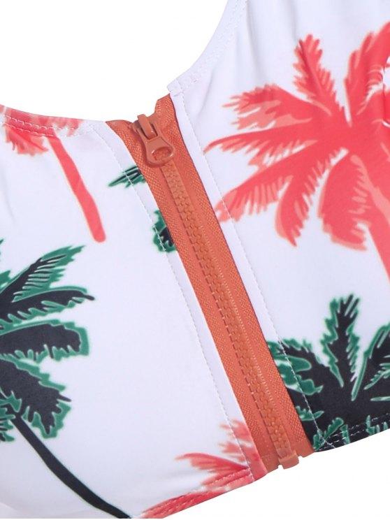Palm Print Round Neck Bikini Set - WHITE L Mobile