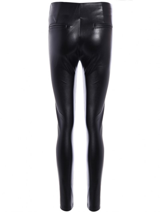 Pencil PU Pants - BLACK 3XL Mobile