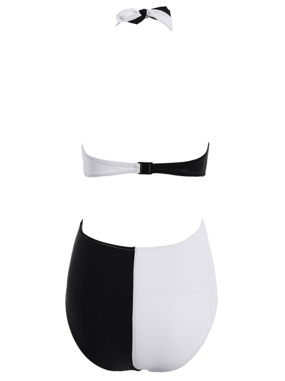 Color Block Criss Cross Swimwear - WHITE AND BLACK L Mobile