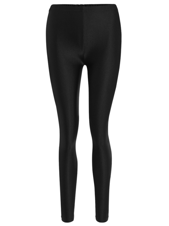 Candy Color Elastic Leggings - BLACK S Mobile