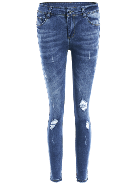 Bleach Wash Skinny Ripped Jeans - BLUE L Mobile