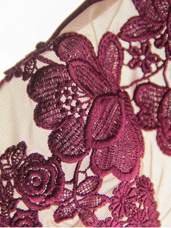 See-Through Floral Embroidered Bra Set - WINE RED M Mobile