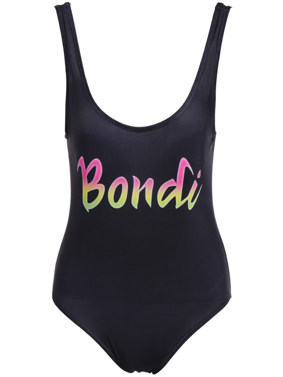 Padded Scoop Neck Bondi Swimwear - BLACK L Mobile