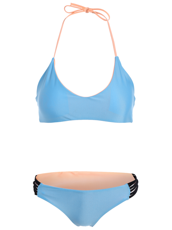 Strappy Color Block Bikini Set - BLUE L Mobile