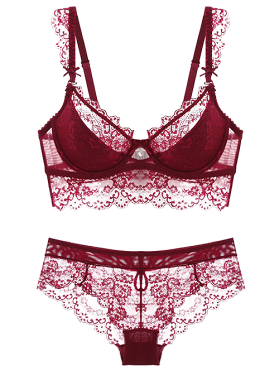 Lace Spliced Scalloped Bra Set - WINE RED 70D Mobile